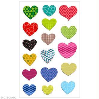 Sticker Fantaisie Cooky - Coeurs à motifs - 17 pcs