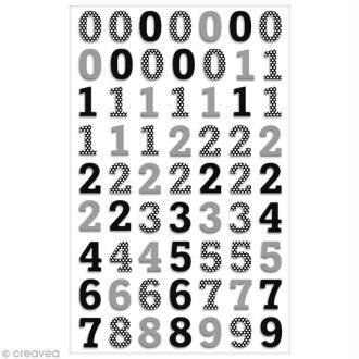 Sticker Fantaisie Cooky - Chiffres noirs - 63 pcs