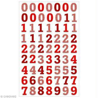 Sticker Fantaisie Cooky - Chiffres rouges - 63 pcs