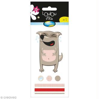 Stickers déco Loulou Stick 3D - Chien Triste - 1 planche 9 x 5 cm
