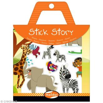 Stick story - Savane - 4 planches d'autocollants repositionnables + 2 fonds