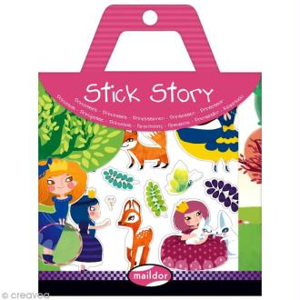 Stick story - Princesses - 4 planches d'autocollants repositionnables + 2 fonds