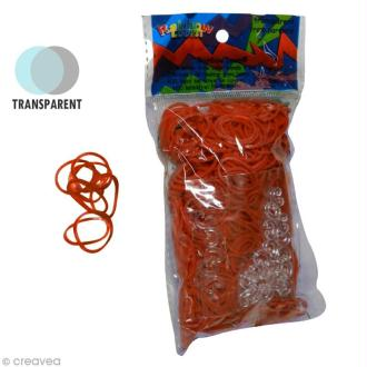 Recharge Rainbow loom 600 élastiques - Orange jelly + 24 fermoirs