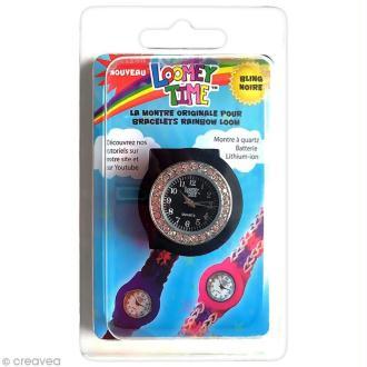 Montre Loomey Time pour bracelets élastiques - Noir à strass