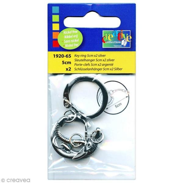 Porte clé argenté - 5 cm x 2 - Photo n°1