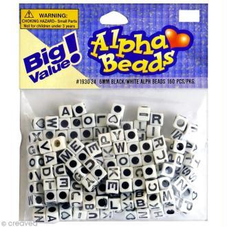 Perles Alphabet Cubes Blanc et noir - 6 mm x 160