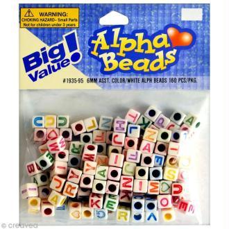 Perles Alphabet Cubes Blanc multicolore - 6 mm x 160