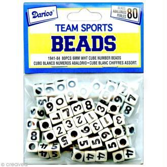 Perles Chiffres Cubes Blanc et noir - 6 mm x 80