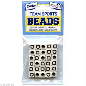 Perles Alphabet D - Sports d'équipe - 6 mm x 30