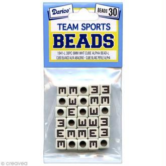 Perles Alphabet E - Sports d'équipe - 6 mm x 30