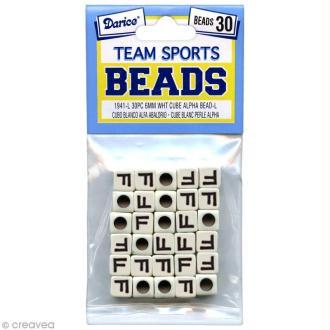 Perles Alphabet F - Sports d'équipe - 6 mm x 30