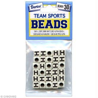 Perles Alphabet H - Sports d'équipe - 6 mm x 30