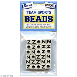 Perles Alphabet N - Sports d'équipe - 6 mm x 30