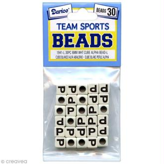 Perles Alphabet P - Sports d'équipe - 6 mm x 30