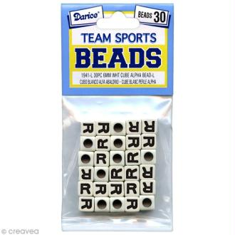 Perles Alphabet R - Sports d'équipe - 6 mm x 30