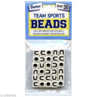 Perles Alphabet U - Sports d'équipe - 6 mm x 30
