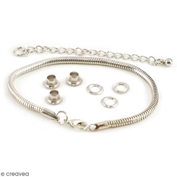 Set support bijoux - Noyaux de perles en métal argenté et chaîne serpent - 10 pcs - Photo n°1