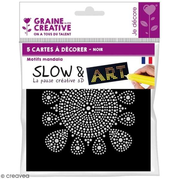 Set peinture Slow & Art Graine Créative - Mandalas noirs - 9 pcs - Photo n°1