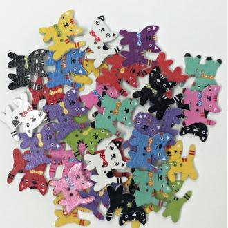 Tricot Créations Boutons en Bois en Forme de Chat 25mm Multicolore x 25