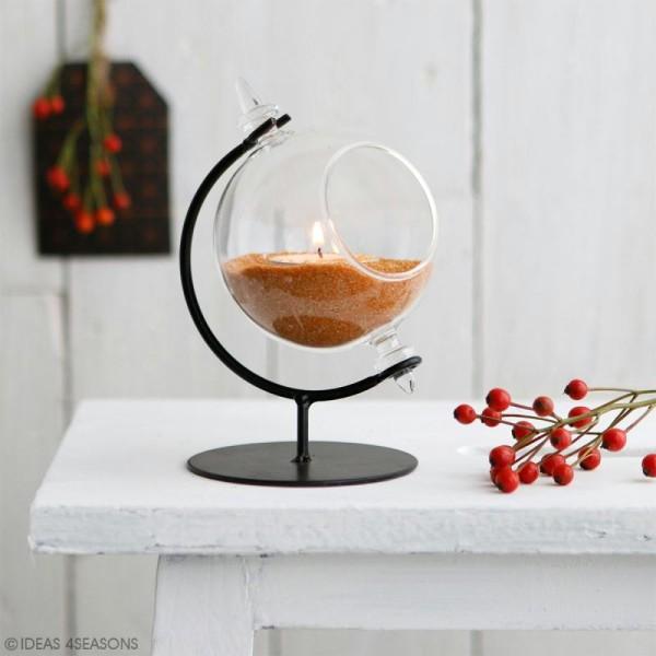 Boule en verre ouverte avec support en métal - 8 x 12 cm - Photo n°2