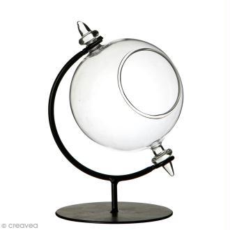 Boule en verre ouverte avec support en métal - 8 x 12 cm