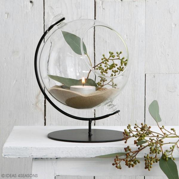 Boule en verre ouverte avec support en métal - 15 x 21 cm - Photo n°2