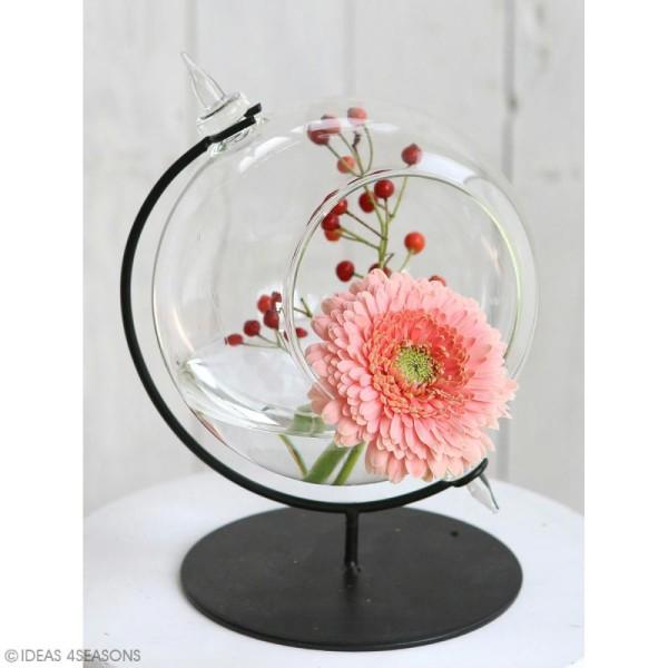Boule en verre ouverte avec support en métal - 15 x 21 cm - Photo n°3