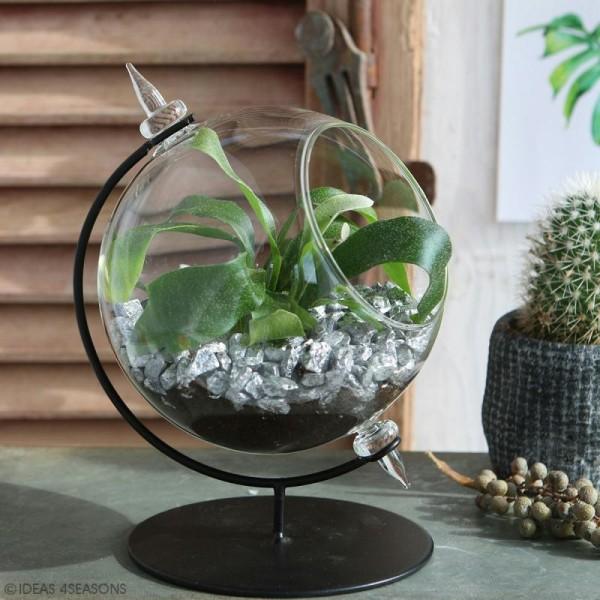 Boule en verre ouverte avec support en métal - 15 x 21 cm - Photo n°4