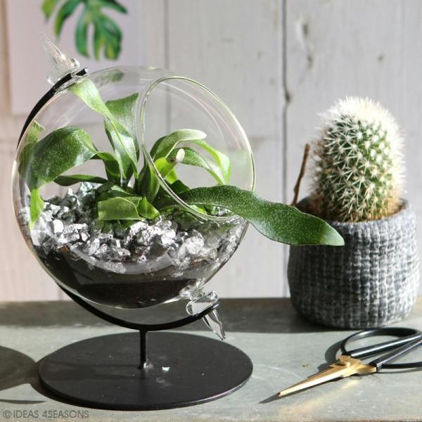 Boule en verre ouverte avec support en métal - 15 x 21 cm - Photo n°5