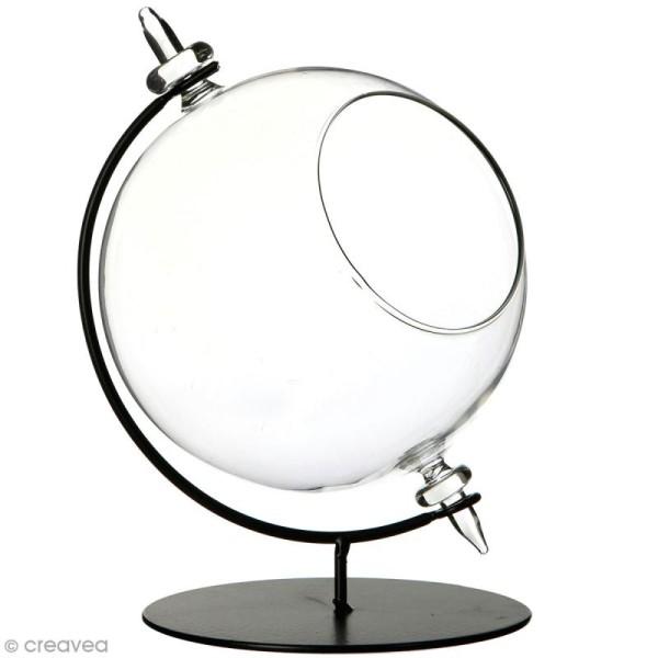 Boule en verre ouverte avec support en métal - 15 x 21 cm - Photo n°1