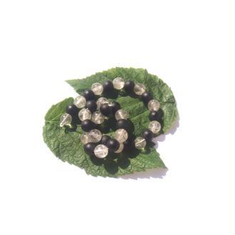 Quartz et Quartz teinté noir : 32 perles 6 MM de diamètre