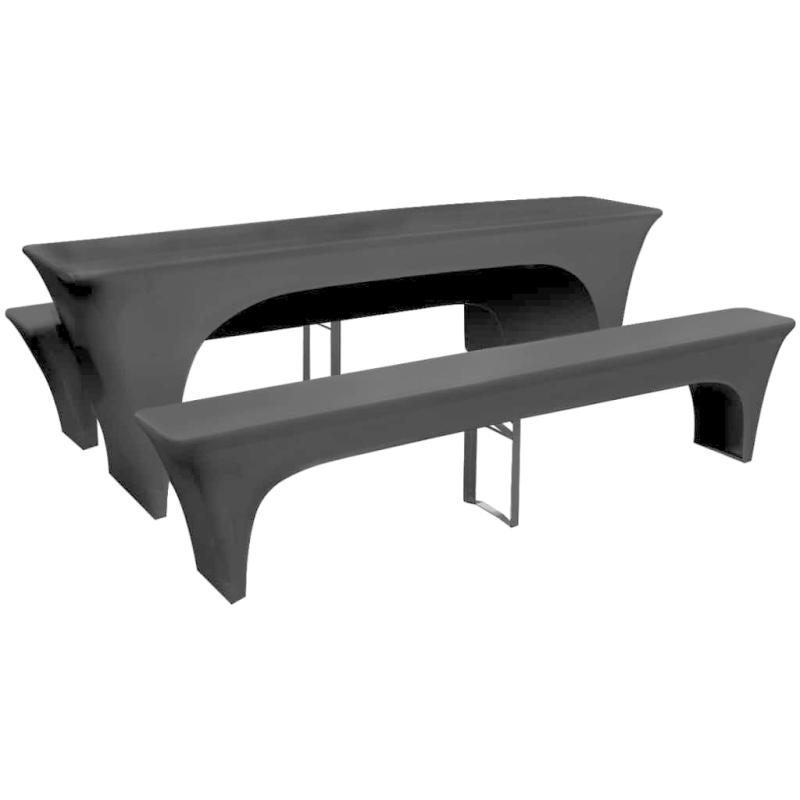 3 nappe pour table de brasserie et bancs extensible noir 50 cm housses de coussin creavea. Black Bedroom Furniture Sets. Home Design Ideas