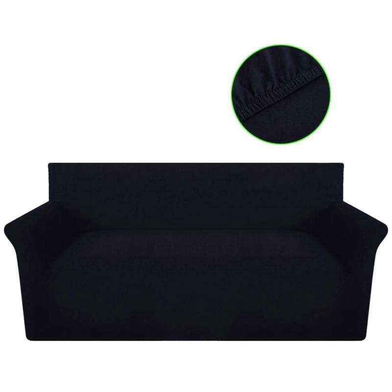 vidaxl housse de canap en jersey de coton noir housses de coussin creavea. Black Bedroom Furniture Sets. Home Design Ideas