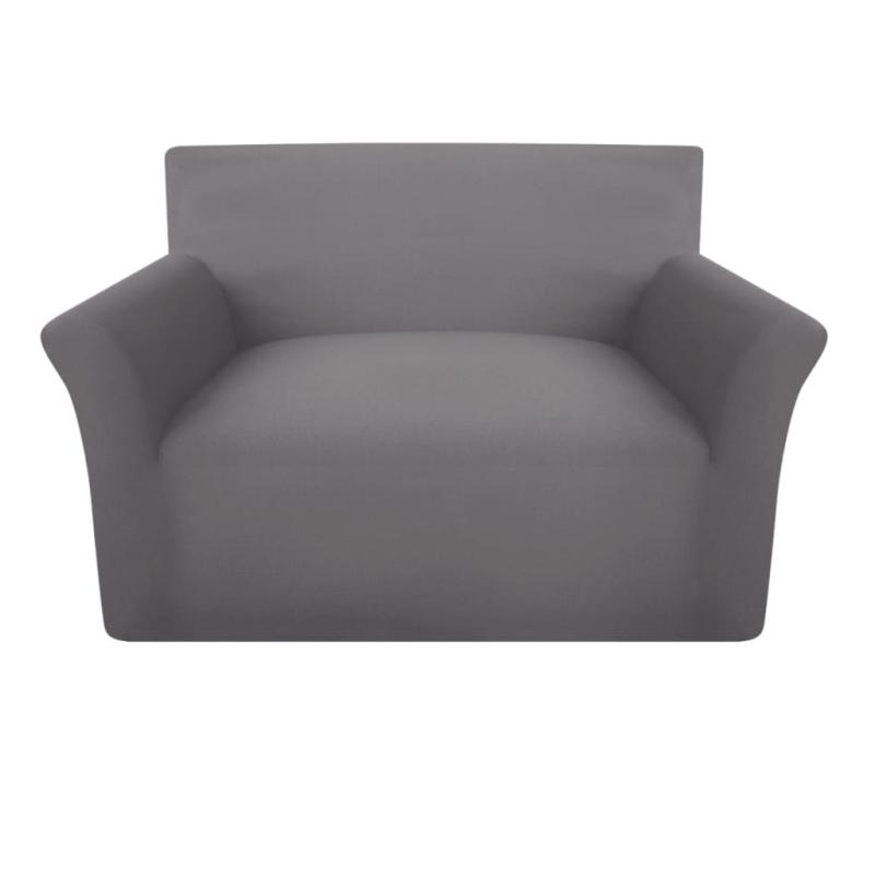 vidaxl housse de canap en coton jersey extensible gris housses de coussin creavea. Black Bedroom Furniture Sets. Home Design Ideas