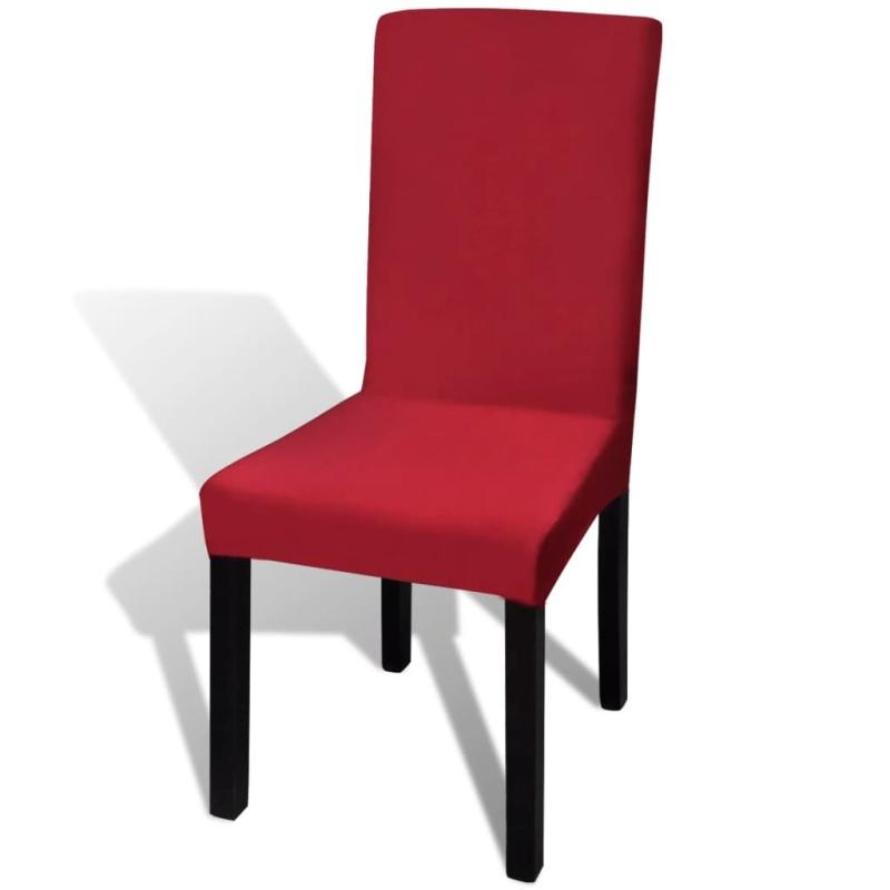 vidaxl housse de chaise droite extensible 4 pcs bordeaux. Black Bedroom Furniture Sets. Home Design Ideas
