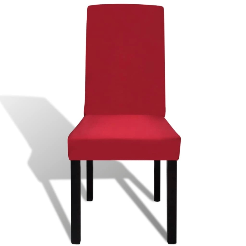 vidaxl housse de chaise droite extensible 4 pcs bordeaux housses de coussin creavea. Black Bedroom Furniture Sets. Home Design Ideas