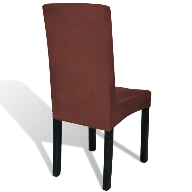vidaxl housse de chaise droite extensible 6 pcs marron housses de coussin creavea. Black Bedroom Furniture Sets. Home Design Ideas