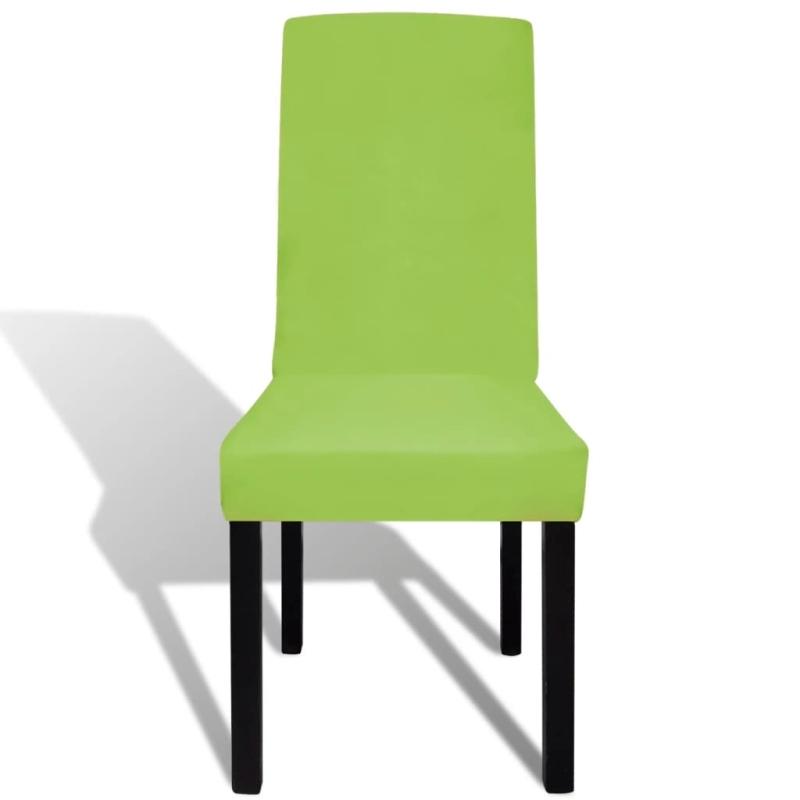 vidaxl housse de chaise droite extensible 4 pcs vert housses de coussin creavea. Black Bedroom Furniture Sets. Home Design Ideas