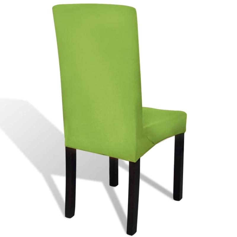 vidaxl housse de chaise droite extensible 4 pcs vert. Black Bedroom Furniture Sets. Home Design Ideas