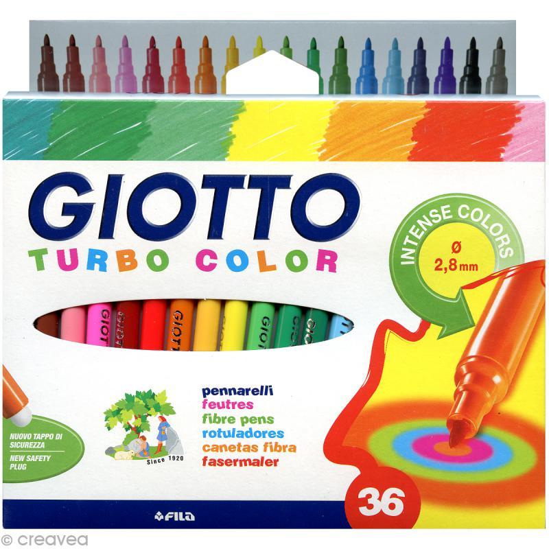 Etui De 36 Feutres De Coloriage Turbo Color Giotto Feutre Dessin Creavea