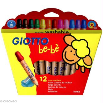 Crayons GIOTTO bébé - Étui de 12 Maxi crayons de couleur
