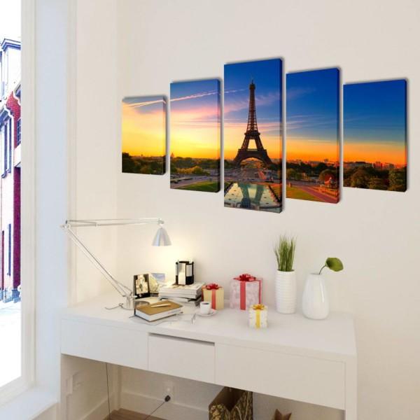 Set De Toiles Murales Imprimées Tour Eiffel 200 X 100 Cm Affiche