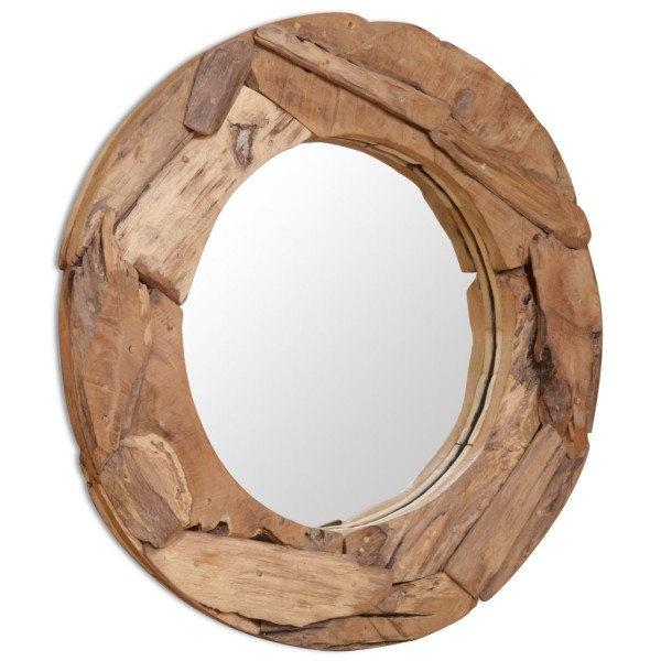 vidaxl miroir d coratif teck 80 cm rond miroir adh sif. Black Bedroom Furniture Sets. Home Design Ideas