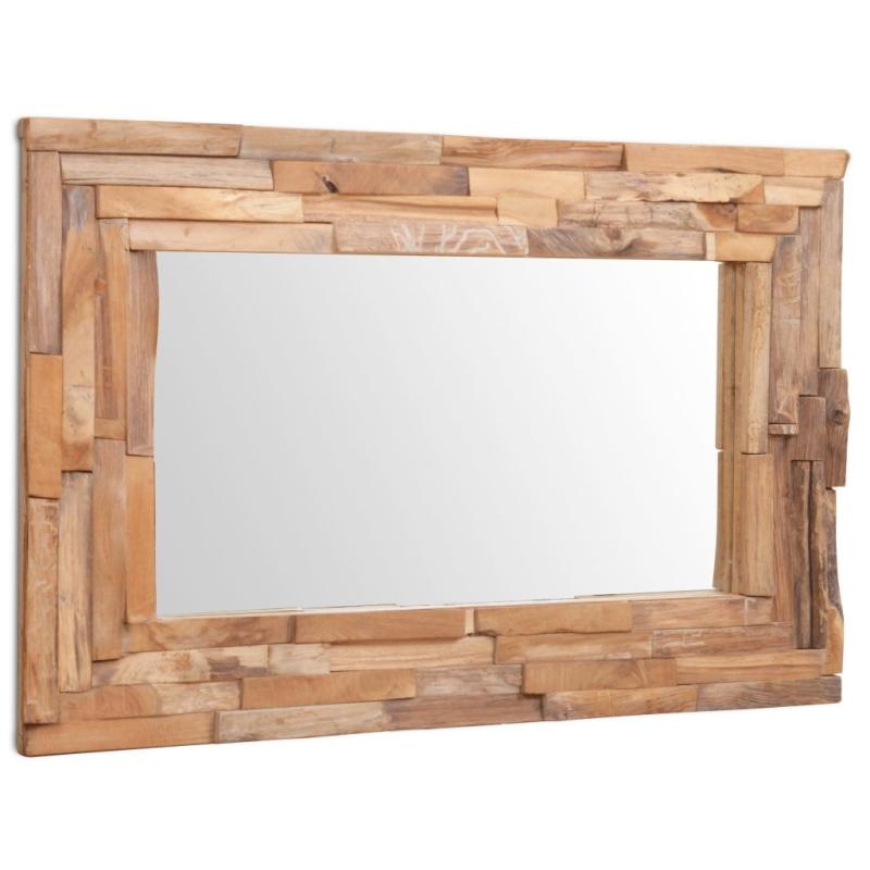 Vidaxl miroir d coratif teck 90 x 60 cm rectangulaire miroir adh sif creavea for Miroir decoratif