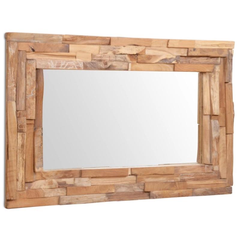 vidaxl miroir d coratif teck 90 x 60 cm rectangulaire miroir adh sif creavea. Black Bedroom Furniture Sets. Home Design Ideas