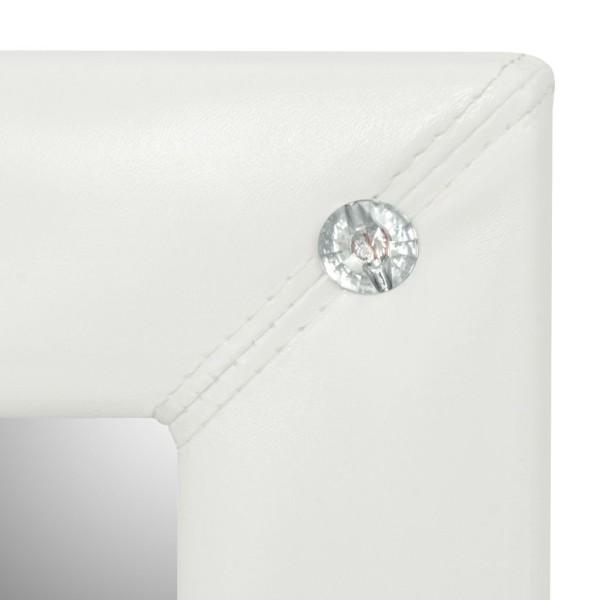 Vidaxl Miroir Mural Cuir Artificiel 60 X 60 Cm Blanc Brillant
