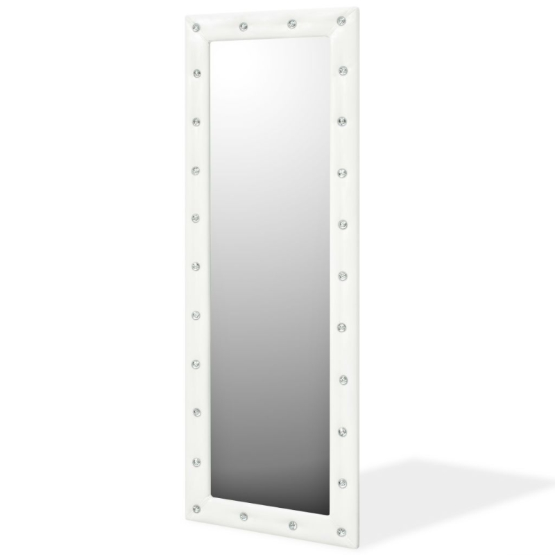 Vidaxl Miroir Mural Cuir Artificiel 50 X 140 Cm Blanc Brillant ...