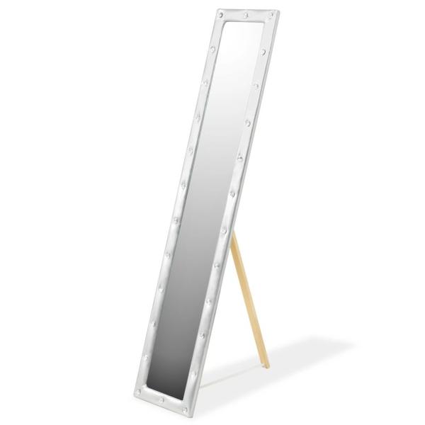Vidaxl Miroir Sur Pied Cuir Artificiel 30 X 150 Cm Argenté Brillant