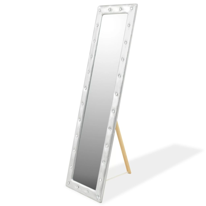 vidaxl miroir sur pied cuir artificiel 45 x 150 cm argent brillant miroir adh sif creavea. Black Bedroom Furniture Sets. Home Design Ideas