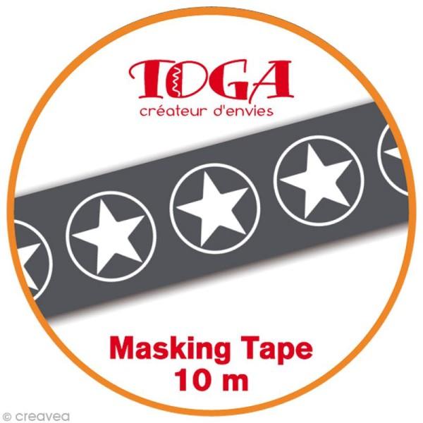 Masking Tape Toga - étoilés noir et blanc - 10 m x 15 mm - Photo n°2